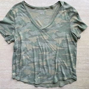 American Eagle Relaxed Fit Camo V-Neck
